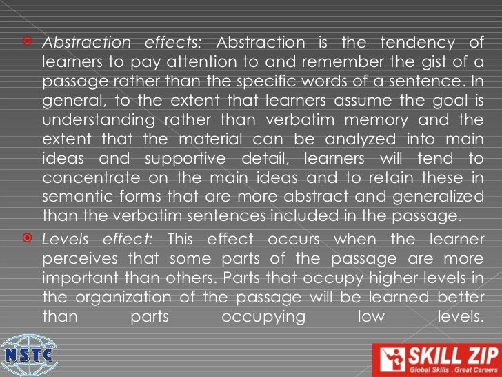  Prior Knowledge effects: Prior knowledge effects will occur  to the extent that the learner can use existing knowledge  ...