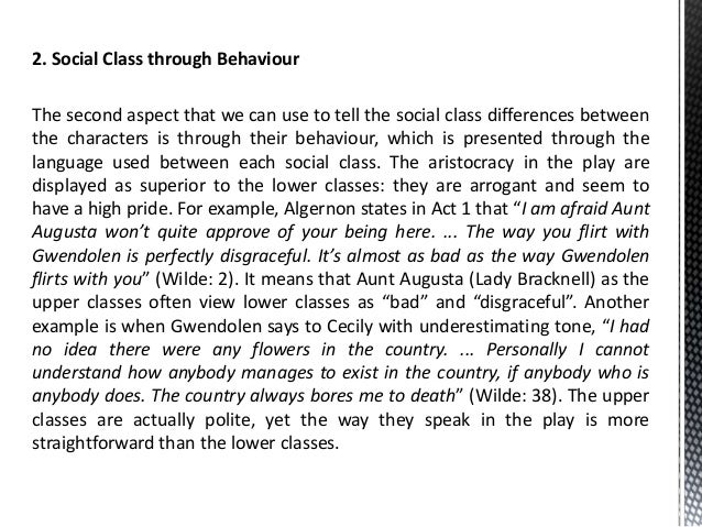 the importance of being earnest social class