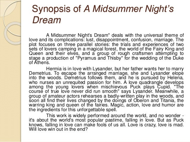 a midsummer night's dream short plot summary