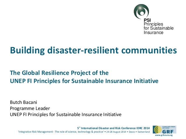 5th International Disaster and Risk Conference IDRC 2014 'Integrative Risk Management - The role of science, technology & ...