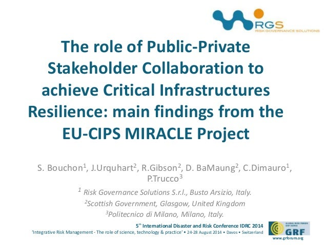 The role of Public-Private  Stakeholder Collaboration to  achieve Critical Infrastructures  Resilience: main findings from...