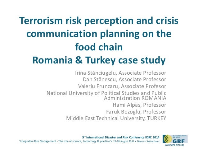 Terrorism risk perception and crisis  communication planning on the  5th International Disaster and Risk Conference IDRC 2...