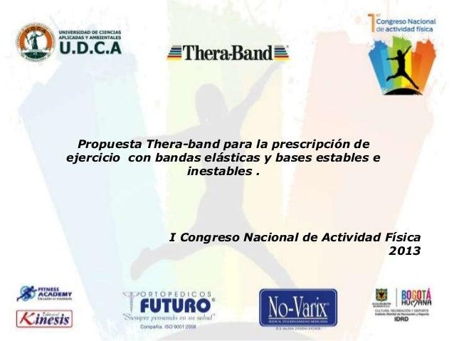Propuesta Thera-band para la prescripción de ejercicio con bandas elásticas y bases estables e inestables . I Congreso Nac...