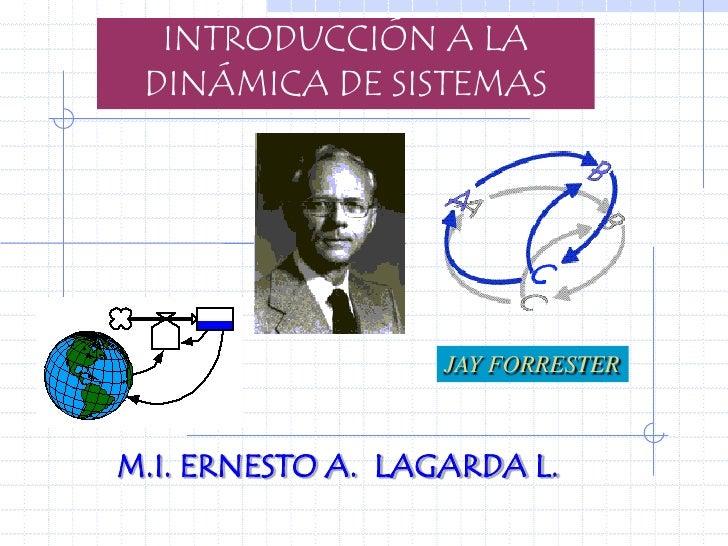 INTRODUCCIÓN A LA  DINÁMICA DE SISTEMAS                        JAY FORRESTER    M.I. ERNESTO A. LAGARDA L.