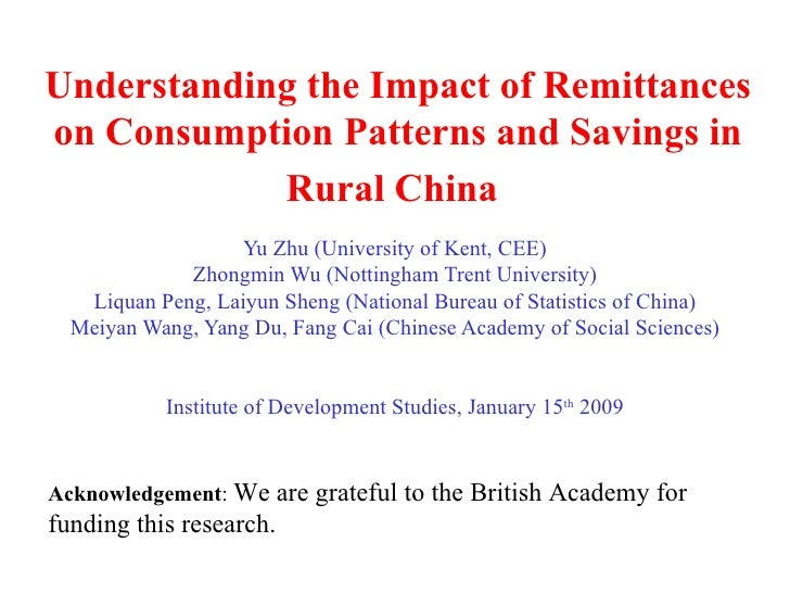 Understanding the Impact of Remittances on Consumption Patterns and Savings in Rural China   Yu Zhu (University of Kent, C...
