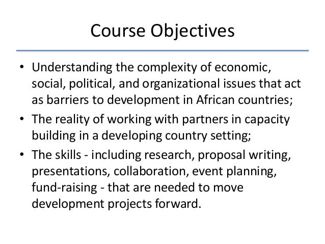 objectives for economic class As part of the undergraduate student learning initiative (usli), the economics  department has developed the following learning goals for the economics major.