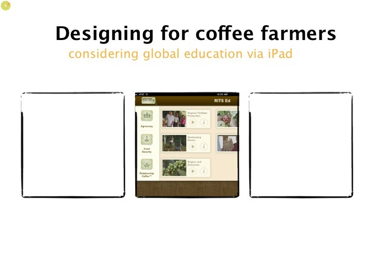 Designing for coffee farmers considering global education via iPad