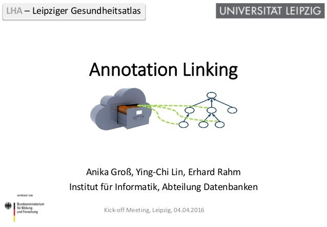 LHA – Leipziger Gesundheitsatlas Annotation Linking Anika Groß, Ying-Chi Lin, Erhard Rahm Institut für Informatik, Abteilu...