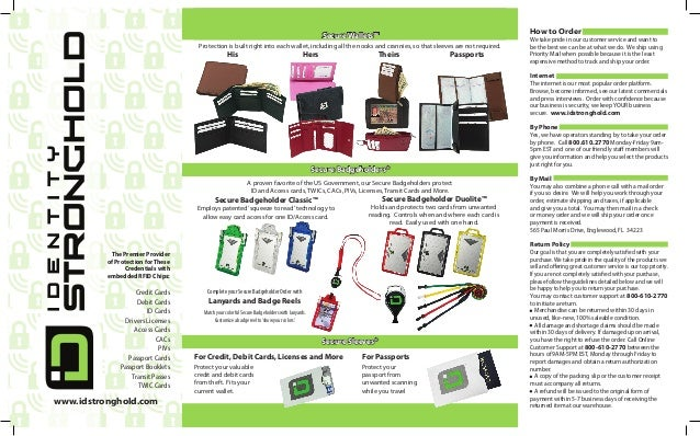 How to Order  Secure Wallets™ Protection is built right into each wallet, including all the nooks and crannies, so that sl...