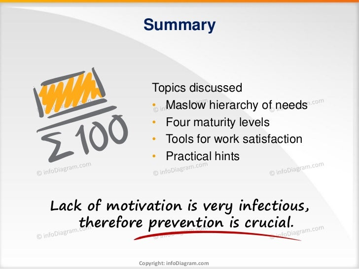 Summary                 Topics discussed                 • Maslow hierarchy of needs                 • Four maturity level...