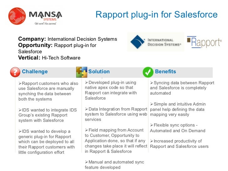 Rapport plug-in for Salesforce    Company: International Decision Systems    Opportunity: Rapport plug-in for    Salesforc...
