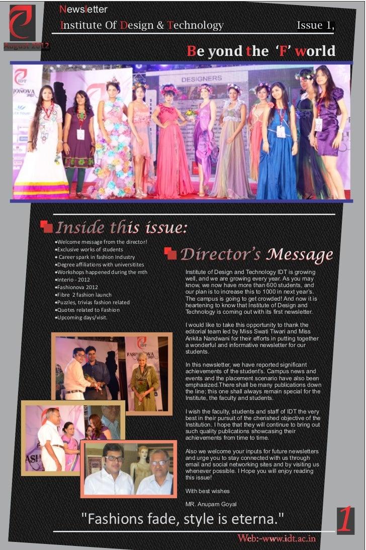 Newsletter Institute Of Design Technology