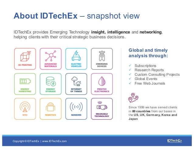 Copyright © IDTechEx |  www.IDTechEx.com About IDTechEx – snapshot view IDTechEx provides Emerging Technology in...