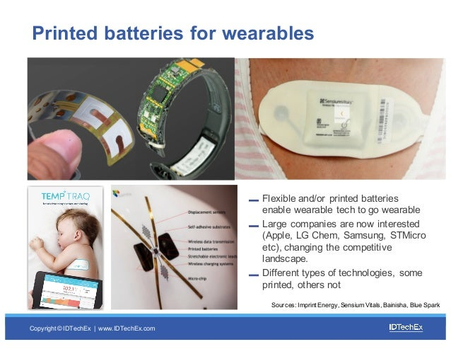 Copyright © IDTechEx |  www.IDTechEx.com Printed batteries for wearables  Flexible and/or printed batteries  e...