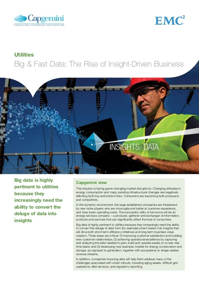 Utilities Big & Fast Data: The Rise of Insight-Driven Business Capgemini view This industry is facing game-changing market...