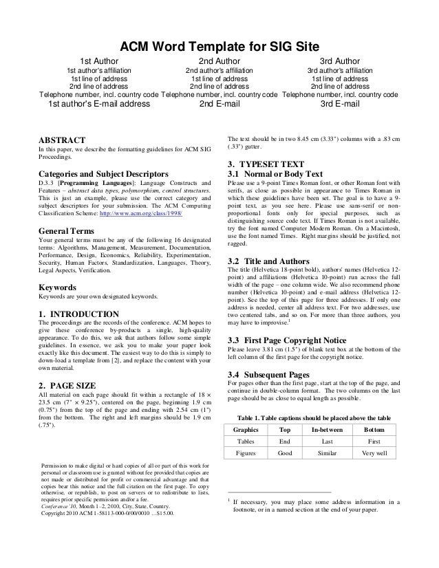 ACM Word Template for SIG Site – Telephone Number Template