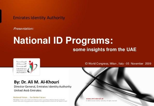 Emirates Identity AuthorityPresentation:National ID Programs:                                                             ...