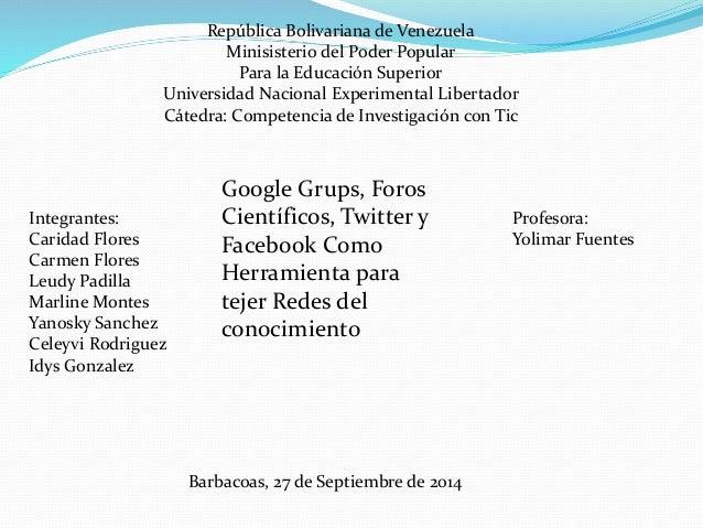 República Bolivariana de Venezuela  Minisisterio del Poder Popular  Para la Educación Superior  Universidad Nacional Exper...