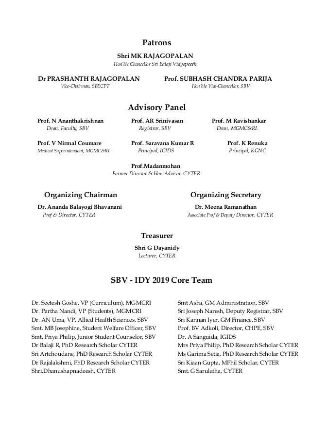 Informative Souvenir of SBV IDY 2019 celebrations organised by CYTER