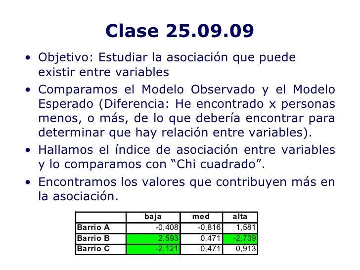 Clase 25.09.09 <ul><li>Objetivo: Estudiar la asociación que puede existir entre variables </li></ul><ul><li>Comparamos el ...