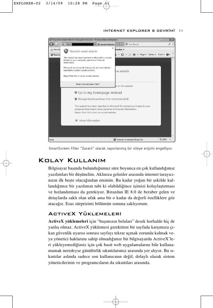 """INTERNET EXPLORER 8 DEVR‹M‹                    11       SmartScreen Filter """"Zararl›"""" olarak raporlanm›fl bir siteye eriflimi..."""