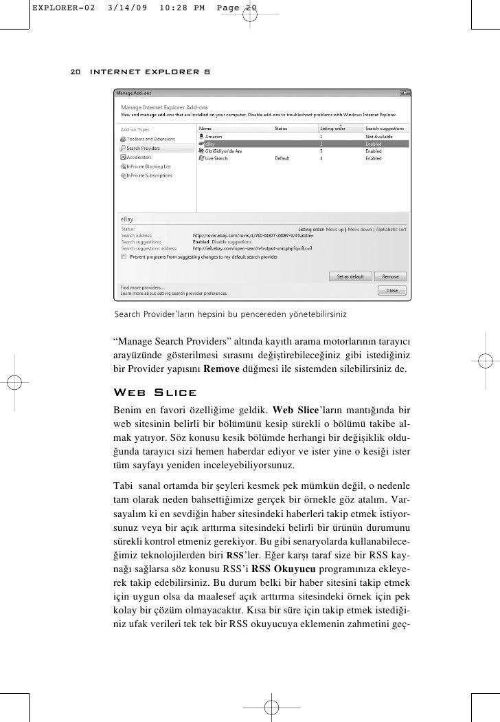 "20 INTERNET EXPLORER 8           Search Provider'lar›n hepsini bu pencereden yönetebilirsiniz         ""Manage Search Provi..."