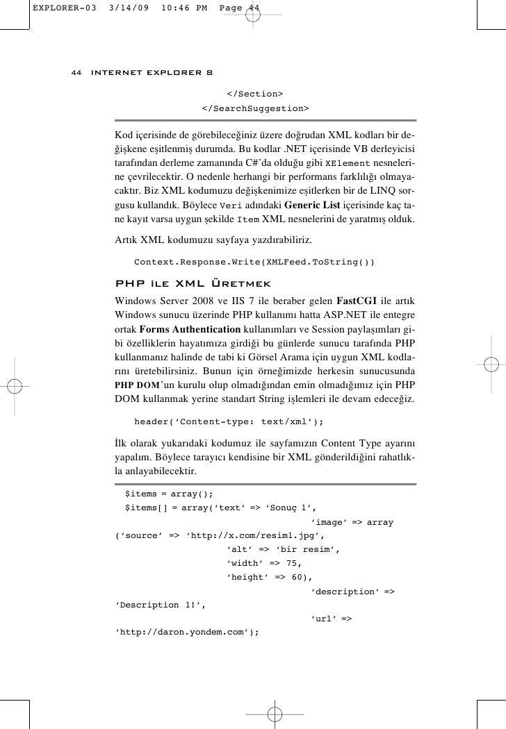 44 INTERNET EXPLORER 8                                </Section>                           </SearchSuggestion>        Kod ...