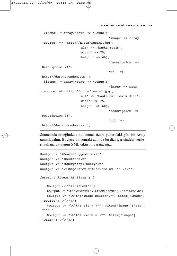 WEB'DE YEN‹ TRENDLER             45    $items[] = array('text' => 'Sonuç 2',                                       'image'...