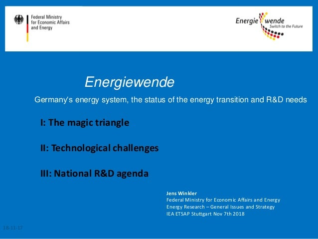 Energiewende Germany's energy system, the status of the energy transition and R&D needs Jens Winkler Federal Ministry for ...