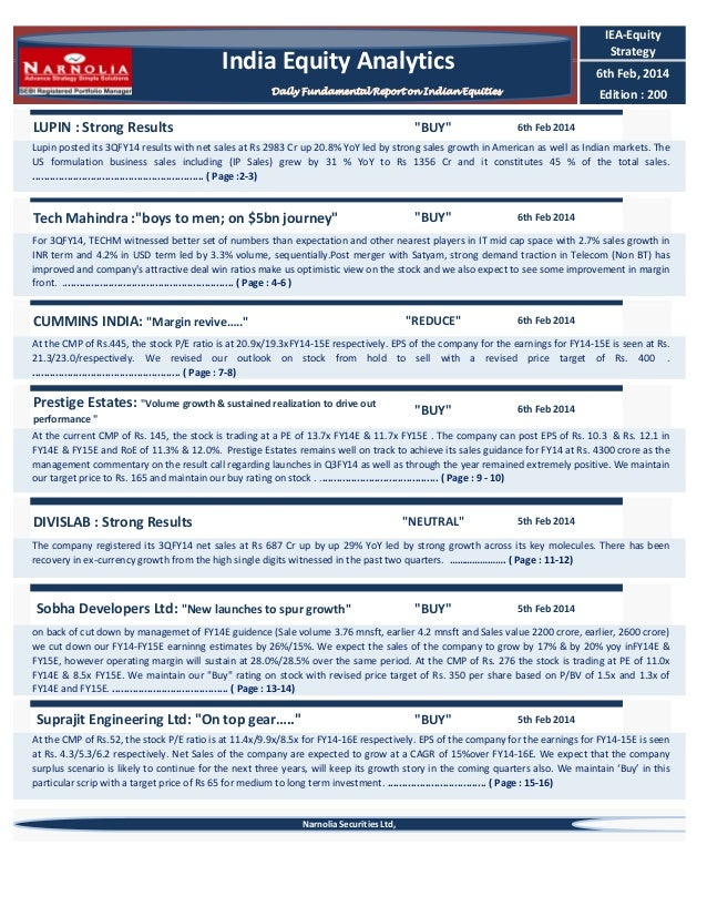 IEA-Equity Strategy  India Equity Analytics  6th Feb, 2014  Daily Fundamental Report on Indian Equities  LUPIN : Strong Re...