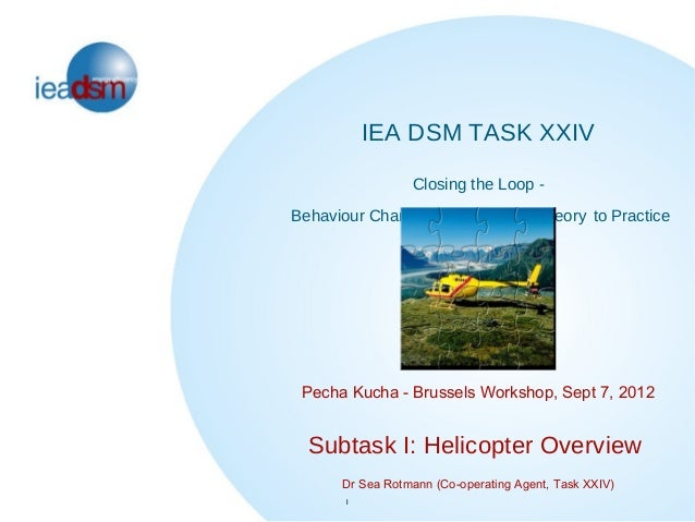 IEA DSM TASK XXIV                 Closing the Loop -Behaviour Change in DSM: From Theory to Practice Pecha Kucha - Brussel...