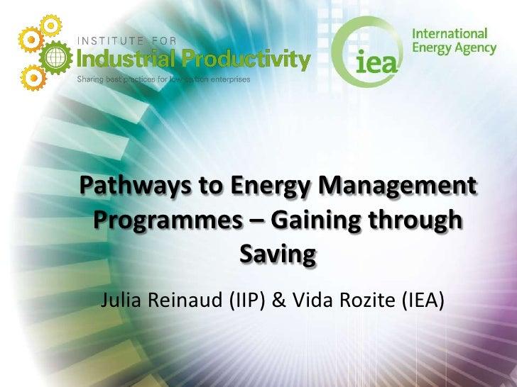 Pathways to Energy Management Programmes – Gaining through             Saving Julia Reinaud (IIP) & Vida Rozite (IEA)