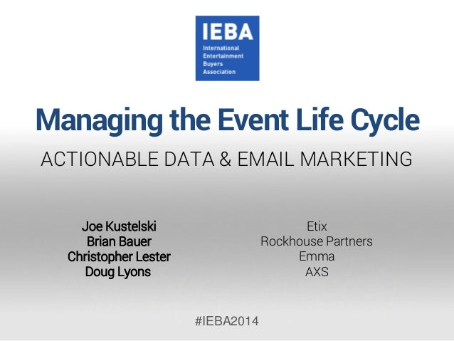 Managing the Event Life Cycle  ACTIONABLE DATA & EMAIL MARKETING  #IEBA2014  Etix  RockhousePartners  EmmaAXS  Joe Kustels...