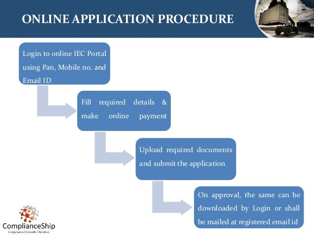 ONLINE APPLICATION PROCEDURE Login to online IEC Portal using Pan, Mobile no. and Email ID Fill required details & make on...