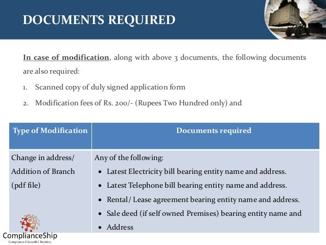 DOCUMENTS REQUIRED In case of modification, along with above 3 documents, the following documents are also required: 1. Sc...