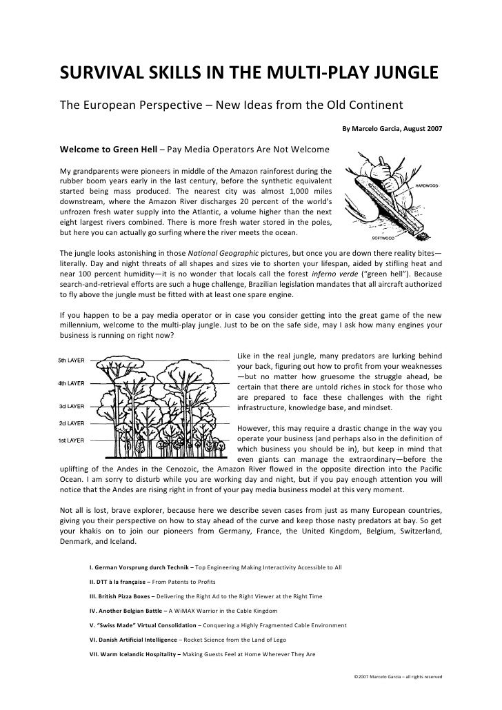 SURVIVAL SKILLS IN THE MULTI-PLAY JUNGLE The European Perspective – New Ideas from the Old Continent                      ...