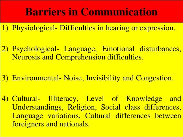 Barriers in Communication 1) Physiological- Difficulties in hearing or expression. 2) Psychological- Language, Emotional d...