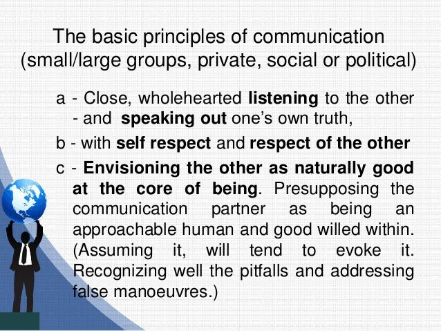 The basic principles of communication (small/large groups, private, social or political) a - Close, wholehearted listening...