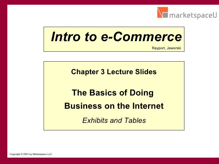 CONFIDENTIAL Copyright © 2001 by Marketspace LLC Chapter 3 Lecture Slides The Basics of Doing  Business on the Internet Ra...