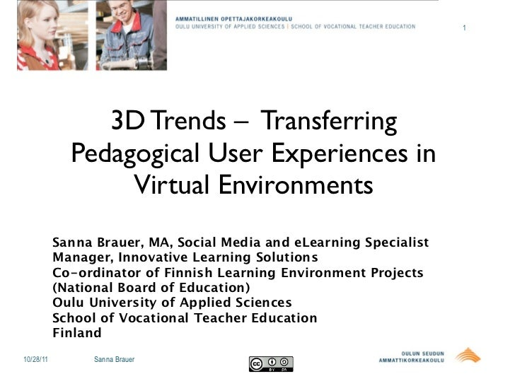 1                3D Trends – Transferring             Pedagogical User Experiences in                  Virtual Environment...