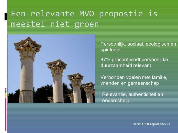 Bron :  Shift report van  CI Relevantie, authenticiteit én  onderscheid Een relevante MVO propostie is meestel niet groen ...
