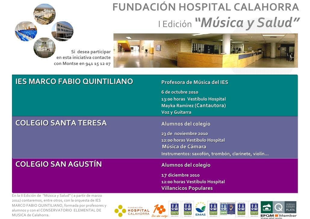 """FUNDACIÓN HOSPITAL CALAHORRA                                                                       I Edición """"Música      ..."""