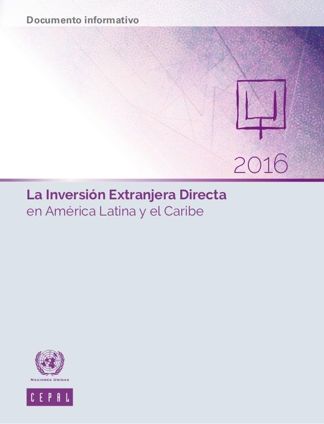 La Inversión Extranjera Directa en América Latina y el