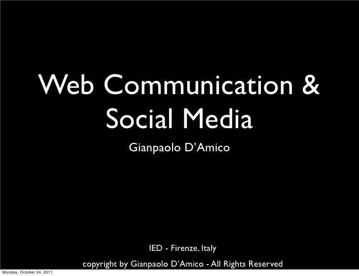Web Communication &                     Social Media                                      Gianpaolo D'Amico               ...