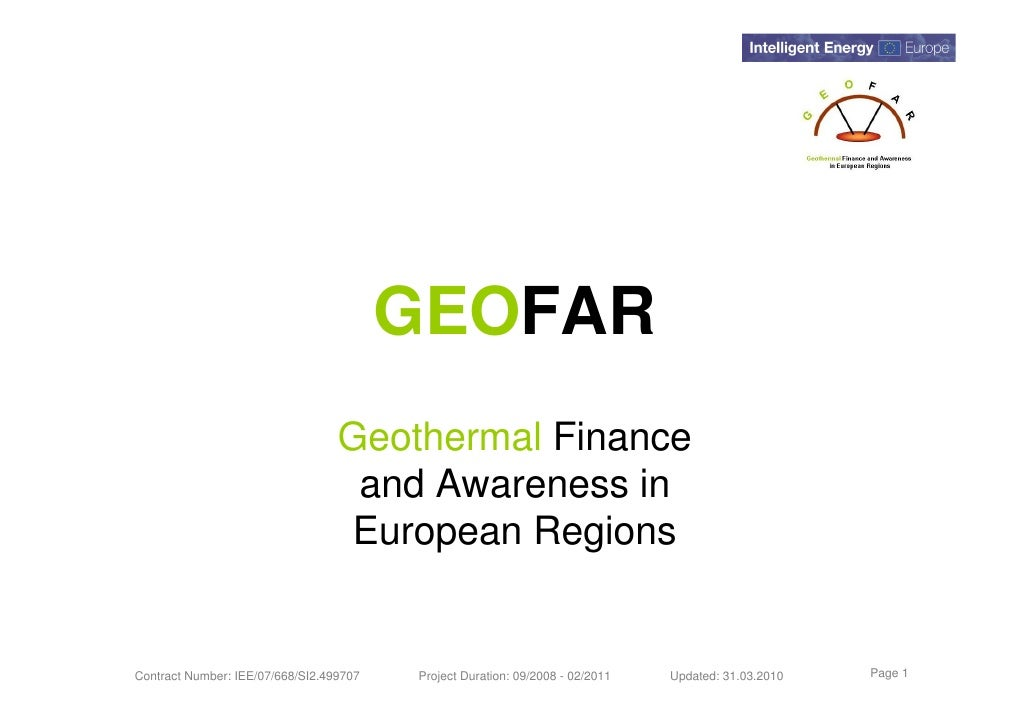 GEOFAR                                   Geothermal Finance                                    and Awareness in           ...