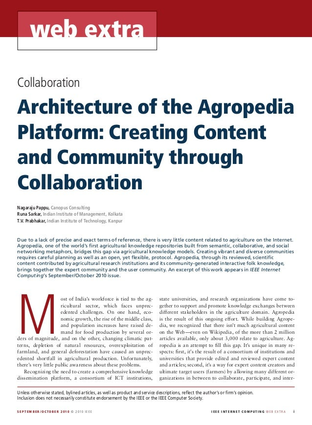 web extraCollaborationArchitecture of the AgropediaPlatform: Creating Contentand Community throughCollaborationNagaraju Pa...
