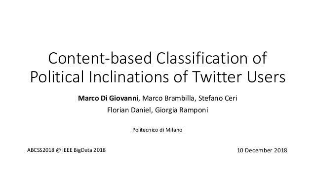 Content-based Classification of Political Inclinations of Twitter Users Marco Di Giovanni, Marco Brambilla, Stefano Ceri F...