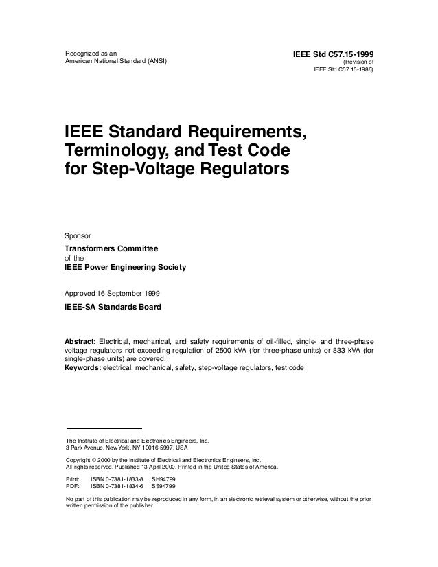 Recognized as an                                                                            IEEE Std C57.15-1999American N...