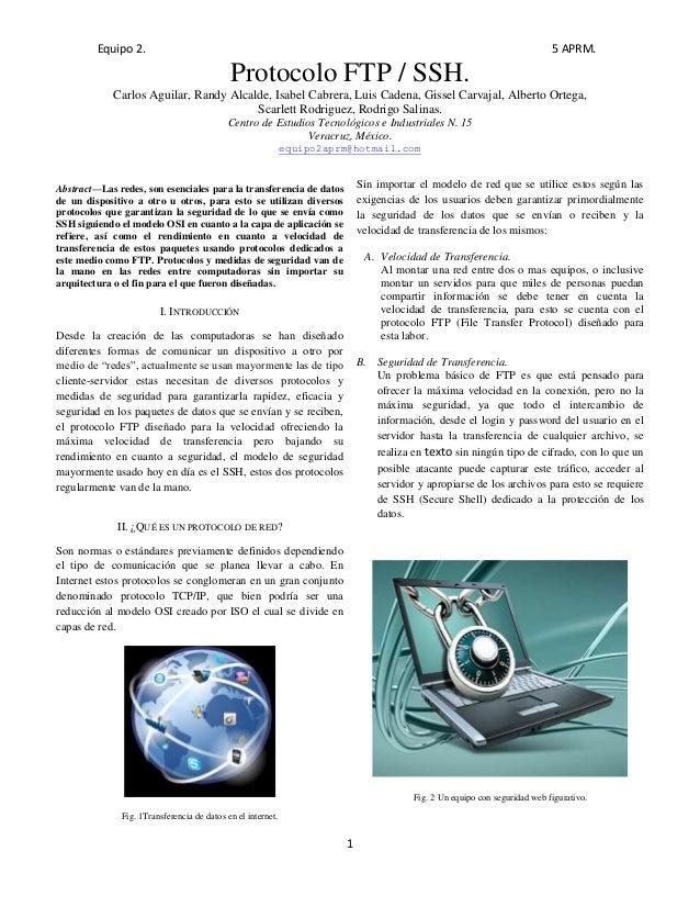 Equipo 2. 5 APRM. 1 Protocolo FTP / SSH. Carlos Aguilar, Randy Alcalde, Isabel Cabrera, Luis Cadena, Gissel Carvajal, Albe...