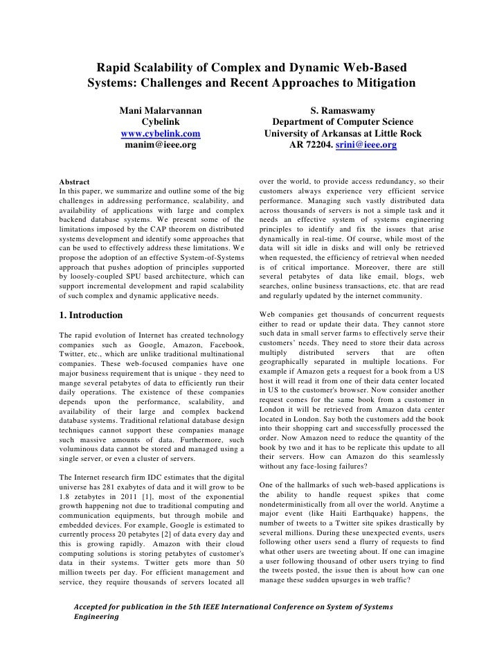 Rapid Scalability of Complex and Dynamic Web-Based         Systems: Challenges and Recent Approaches to Mitigation        ...